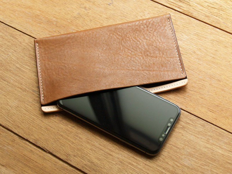 Leather Phone Case for iPhone Xs Max/ 6/7/8 plus ( Custom Name ) - Carame