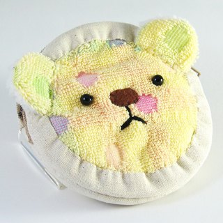 Cheerful terry cloth bear zip coin purse sweet yellow