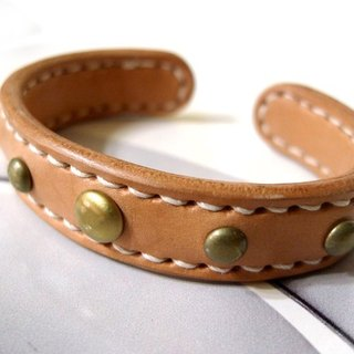 _ Hand-made leather leather bracelet - copper core increase (s) - rivet section _ brass core