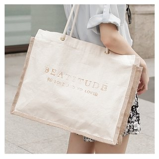 Day Bags Series _ letter marking linen with cloth shoulder bag