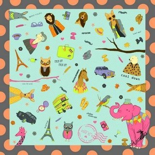 Asama designer scarf / pink elephant and friends Pink Elephant (Mint)