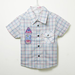 Red and blue plaid cotton short-sleeved shirt