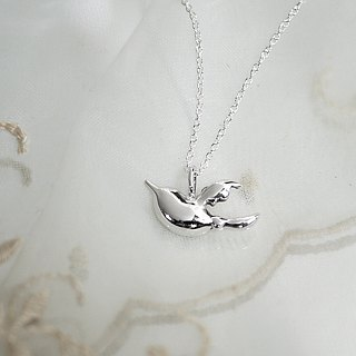 [Jewelry] Jin Xialin ‧ wings necklace - Silver bright polished