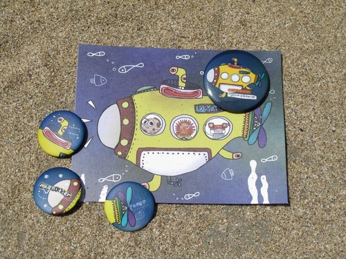 Postcard + Badge [ Yellow Submarine ] 1+4