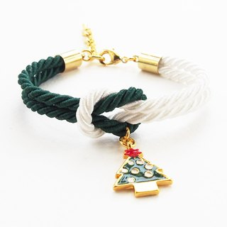 Christmas gift collection , Green/White knot rope bracelet with Christmas tree charm