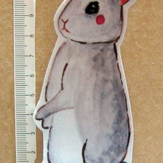 Hand painted illustrator style full waterproof stickers standing gray rabbit