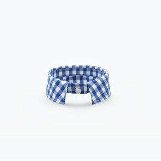 Among handmade 。pet necklace_royalblue_ plaid