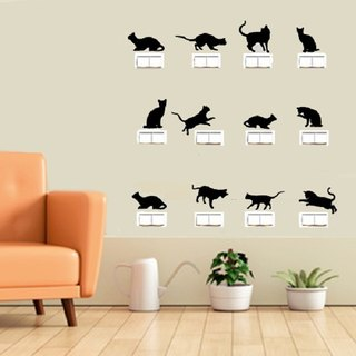Smart Design Creative trace wall switch stickers affixed ◆ cat