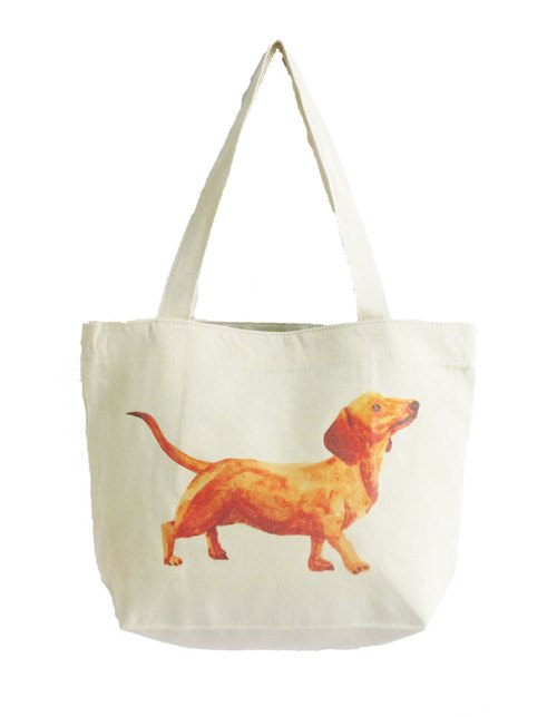 Dachshund Tote Bag/Watercolor Dog Canvas Cotton Tote/Handpaint/Diaper/Beach/Shopping/School/Shoulder/Pet Lover/Holiday Gift Ideas/Portrait