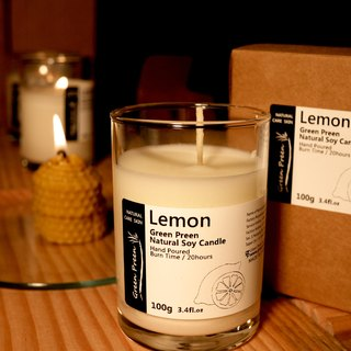 "Green Garden Green Plus [machine] warm candlelight hand-natural soy candles essential oils, ""lemon"" (100g)"