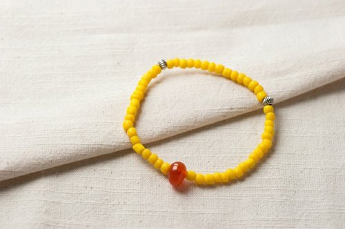 【Woody'sHandmade】Sunlight. Yellow glass bracelet. Section a stone main agate ore