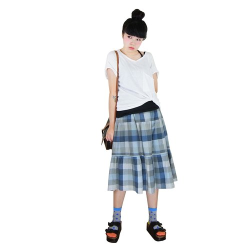 A‧PRANK: DOLLY :: VINTAGE retro with blue-gray plaid drawstring waist cake Yuanqun