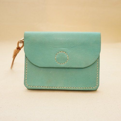 (Fu Lipin) hand out good light Tisheng double purse - leather tanned leather - Sky Blue