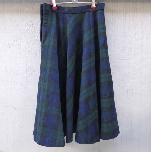 FOAK vintage blue-green plaid woolen skirt big skirt