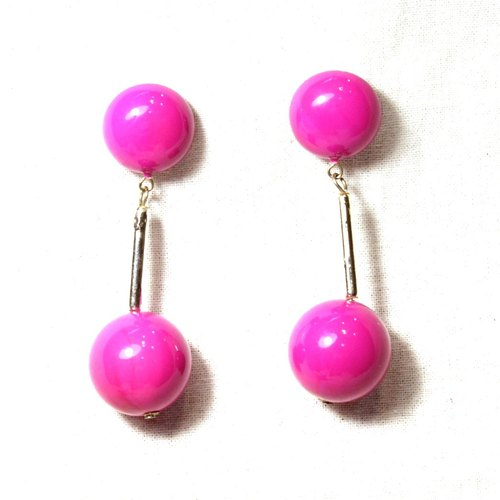 Vintage hanging pink ear pin earrings