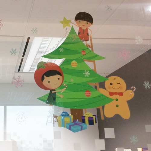 Ang Ku Kueh Girl and Friends Christmas Decal (Large)
