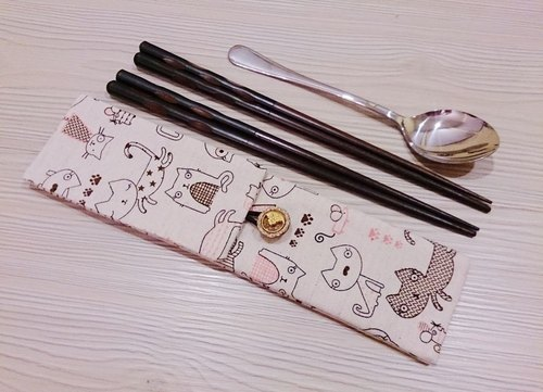 Green tableware storage bag double chopsticks bag cat models double sets of chopsticks