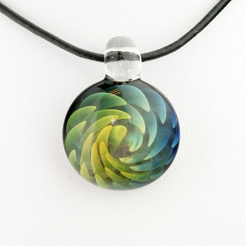 Swirl tobacco products handmade glass pendant