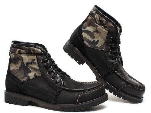 Hau Temple yield military-style camouflage style leather reflexed two uniformed black boots