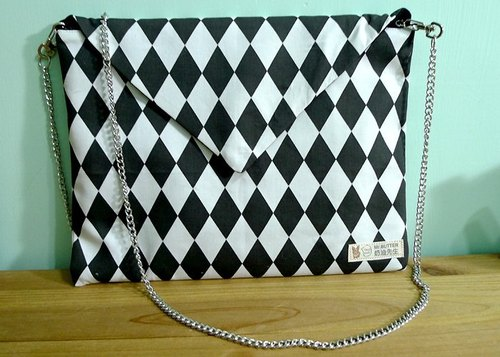 Black and White CHECK. Envelope Clutch