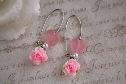 love handmade polymer clay jewelry heart-shaped earrings Rose