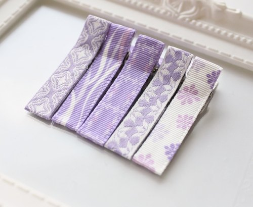 American ribbon bangs clip (V into the group) - Wisteria