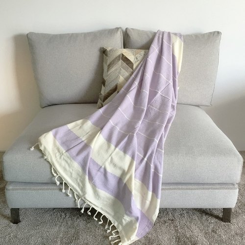 Turkish handmade organic thin cotton towel Cascade (purple)