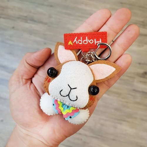 [Cats cat x city cat] rabbit (double-spot mosquito gray / black / coffee) pure hand-stitched custom name puppet hanger / key ring graduation gift birthday gift