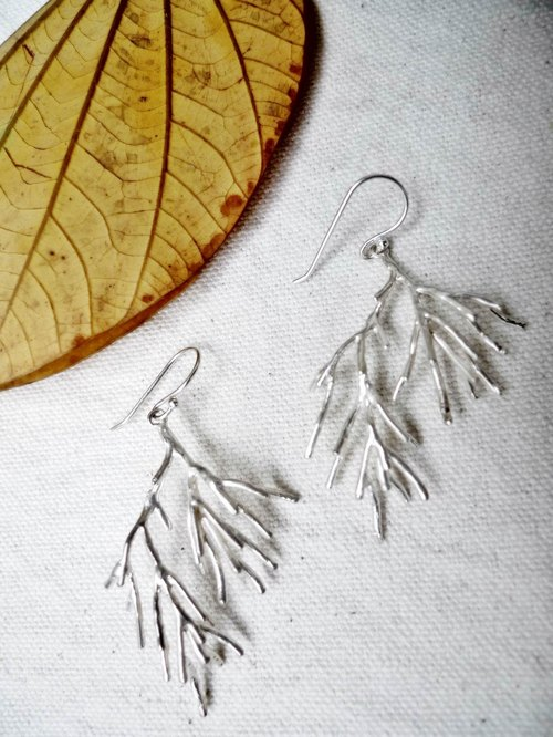 _ Minimalist silver earrings natural branches