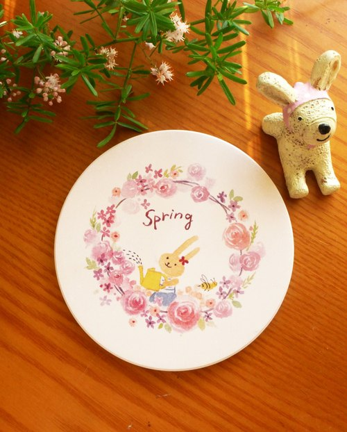 Spring Wreath small ceramic absorbent coasters