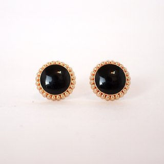 Circle dot Black Litchi Stainless Steel Earrings Earrings Earrings 010