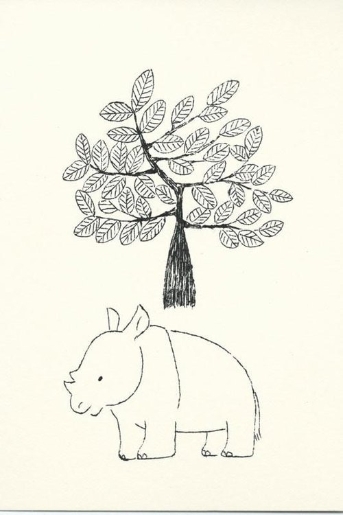 Post card set - rhino and big tree