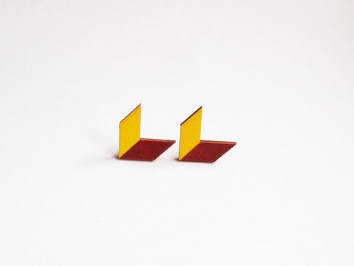 Hand-painted wooden arrow earrings colored blocks