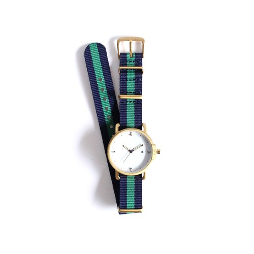 N.IX watch (Valentine gift): Ocean Project / Ocean # 03 with Nylon navy and green.