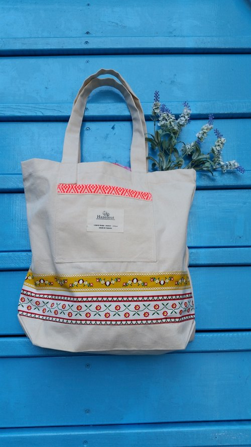Scandinavian-style floral pattern orange ribbon embroidery bag / handbag / shoulder bag / cotton canvas / handmade / occupied / gifts / birthday gift