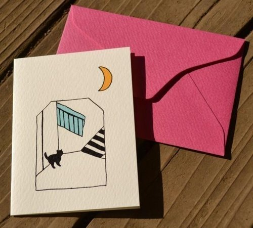 Envelope with card black cat walk (stairs)