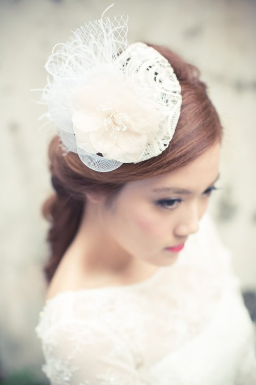 Bridal headpiece - stiffened lace hat, tear drop hair fascinator with silk flower in blush pink