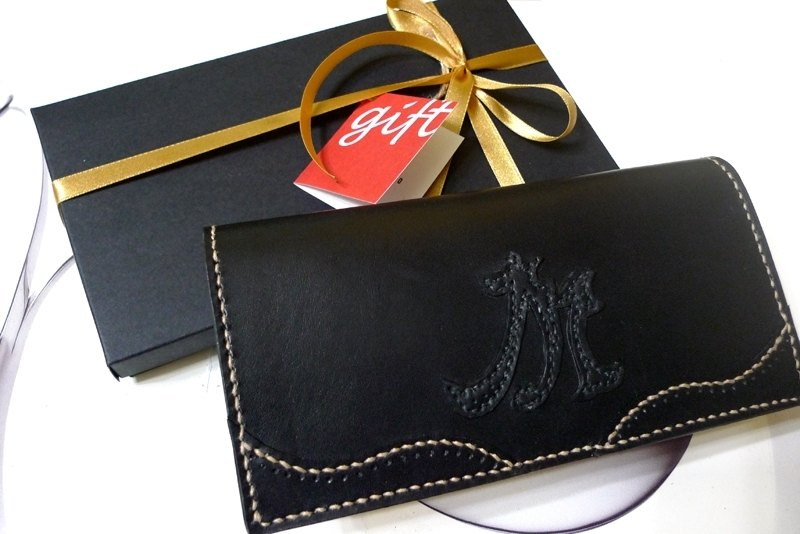 Craft words handwritten letters Art Series - long clip _ black leather - hand-stitched leather