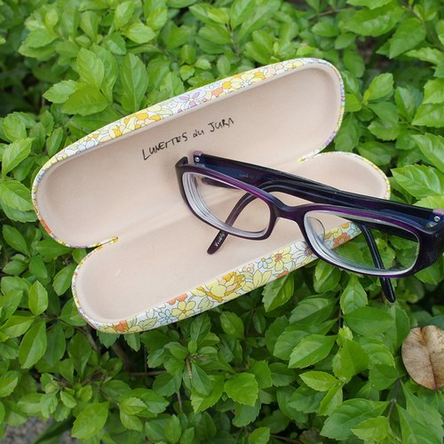 Good day glasses case _ Japanese woven flowers
