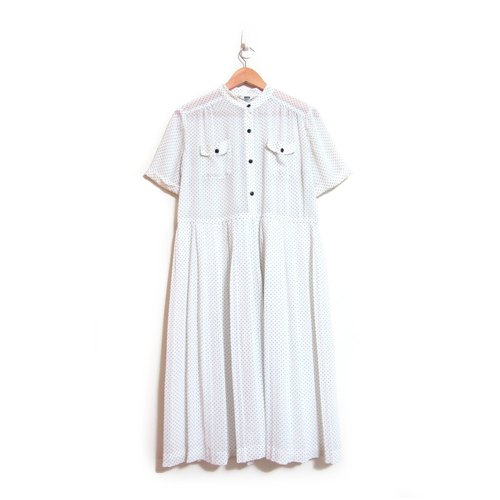 [Eggs] sesame ice plant vintage whirlwind Wide pleated vintage dress
