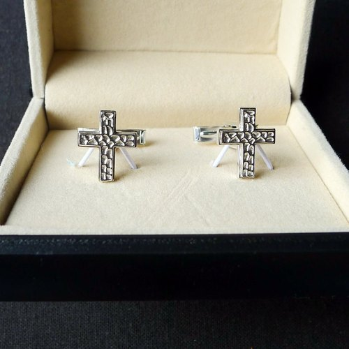 [Temper - ten] Hammered-Cross / Originals / 925 silver cufflinks
