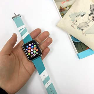 Apple Watch Series 1,  Series 2 & Series 3 - 湖水綠色幾何圖案 Apple Watch 真皮手錶帶38 / 42mm ,100%香港設計及製作