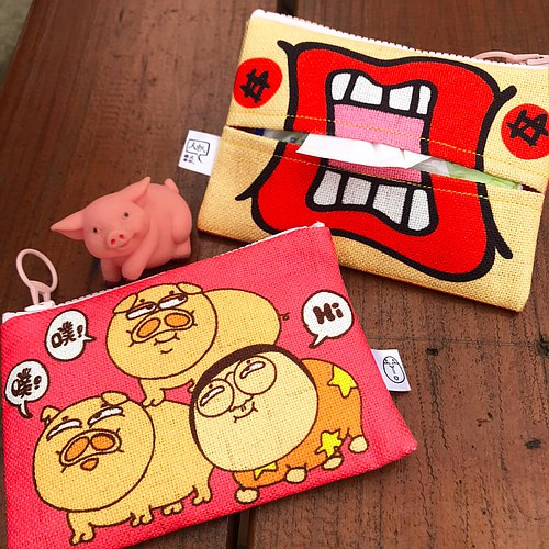 """People person"" fun illustration purse - Three Little Pigs (face wrapped / dual purse / gift / water)"