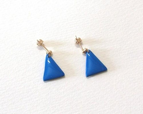 Geometric triangle earrings (blue x black) ear / cramping