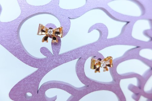 ❋Tooo Mini❋ << Ribbon Bows with Surprises >> Diamond 18K Gold Earrings