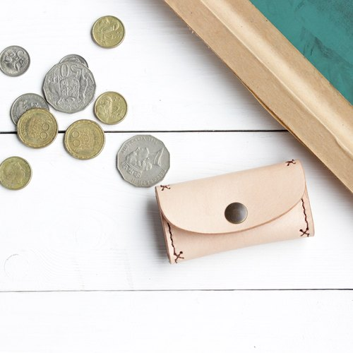 Bluecat - Coin pouch / purse / bag / holder / wallet / case / genuine leather / hand stitched vegetable tanned leather / handmade leather / gift