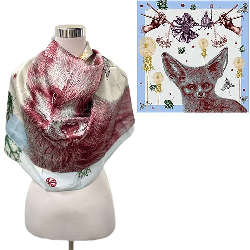 Fox dreamer square silk scarf