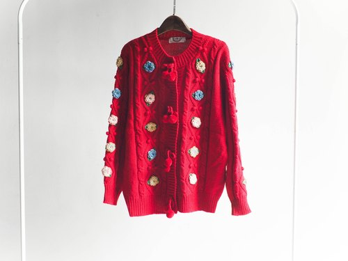 River Hill - Versailles love red colored flowers and a half-dimensional textured antique wool sweater coat cardigan sweater vintage vintage oversize