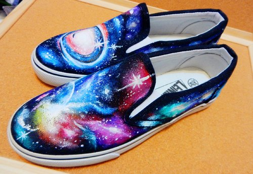 god leading hand-made - [manual] pure hand-painted shoes, hand wa colorful depiction multicolor universe Draws ki ma si lazy casual shoes use in Taiwan Fu MIT licensing
