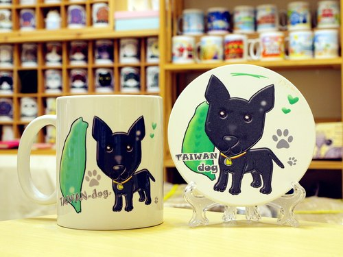 """NONCOOL. Cool farming ""Taiwan dog. Mug (straight) - Coaster combination"